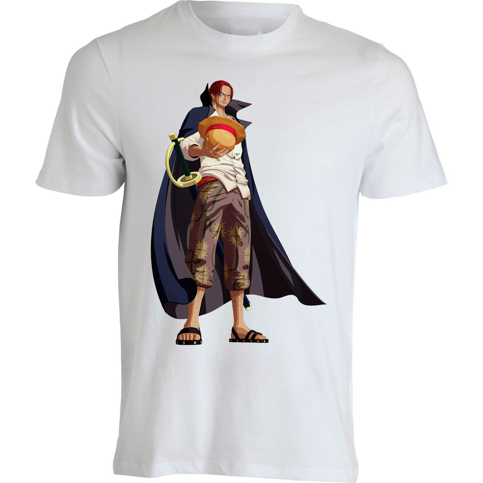 Red hair Shanks One Piece Younkou anime Japan funny men clothing top t shirt On Sale New Fashion Summer Men Tops Tees