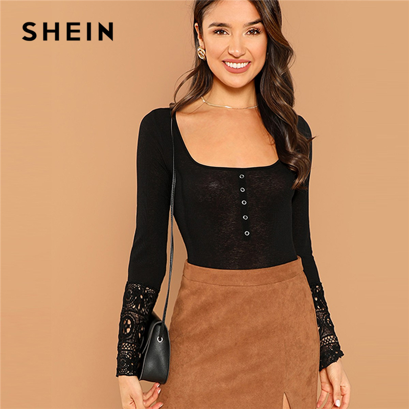 0cb3f3c522 SHEIN Black Button Front Lace Cuff T-shirt Elegant Long Sleeve Scoop Neck  Slim Fit