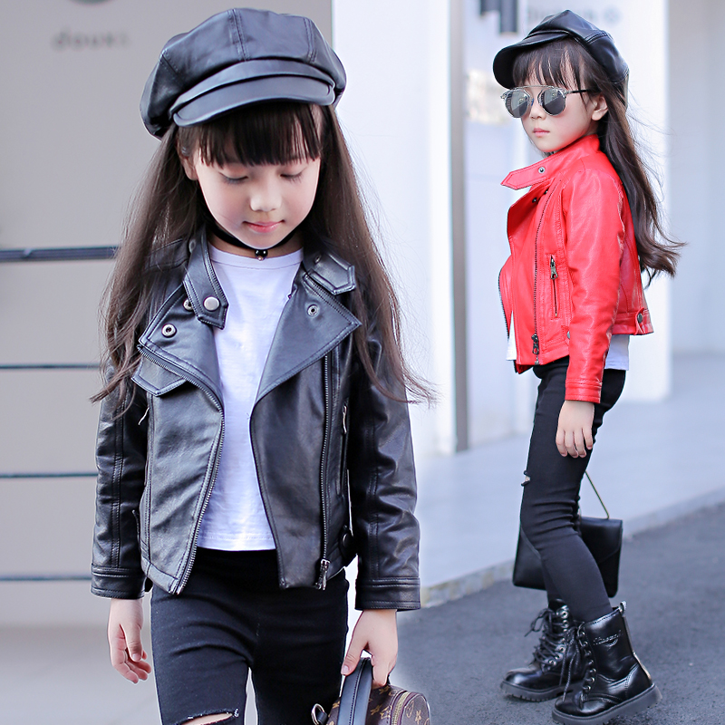 Spring Autumn PU Leather Jacket for Girls Teenages Clothes Child Motorcycle Bomber Blazers 2018 Children Outerwear Coats striped trim fluffy panel bomber jacket