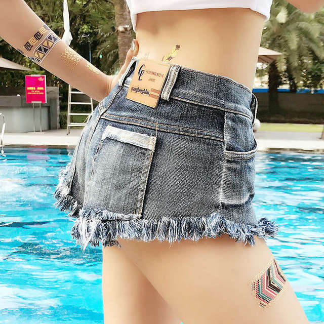New Arrival Quality Female Denim Shorts With Pockets And Tassel High Waist Sexy Clubwear Beach Booty Shorts Jeans Mujer Fashion