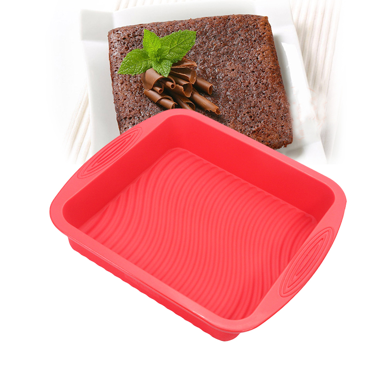 Silicone Cake Pan, Premium Quality No-Stick Baking Mold Cookware / Brownie Pan 8x 8x 2 inch, Durable, Convenient