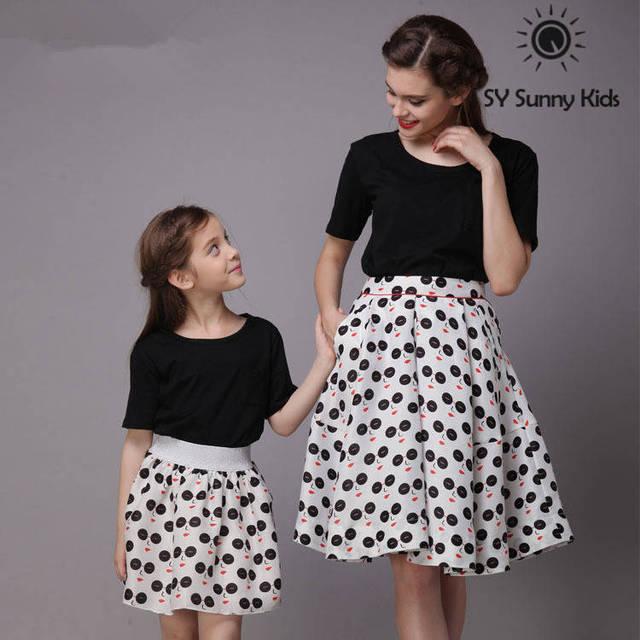 top grade matching mother daughter dress t shirt match high waist ...