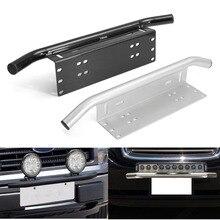 1pc black / chrome 23″ Bull Bar Front Bumper License Plate Frame Mount Bracket Holder for offroad Driving LED working Light