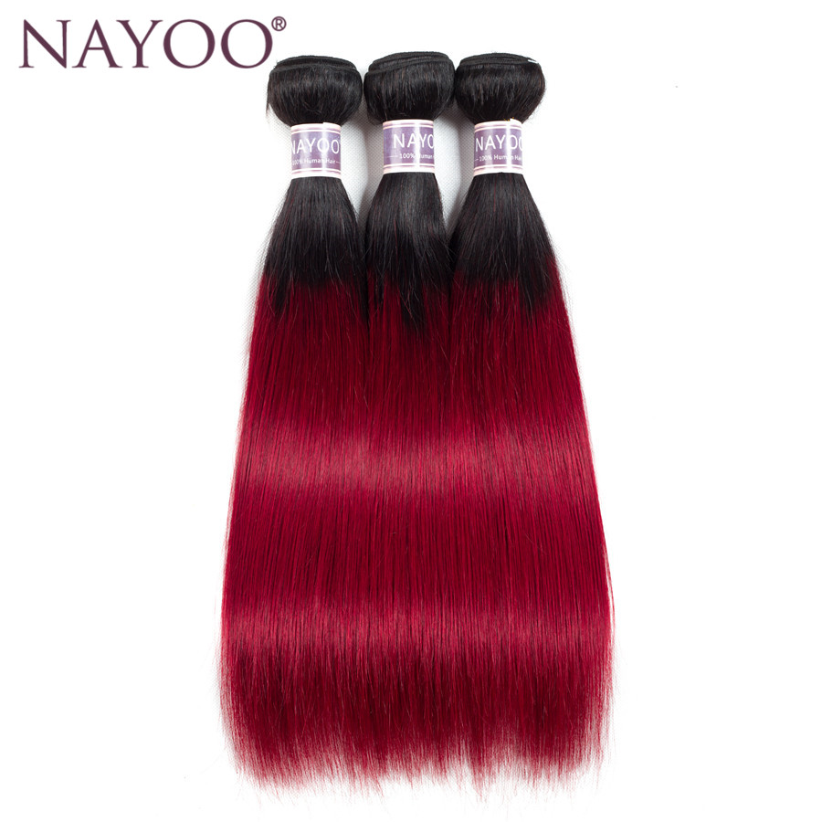 NAYOO Pre-Colored Red Ombre Brazilian Human Hair Weave Bundles 3 PCS T1B/Red Dark Roots Straight Ombre Non-Remy Hair Bundles