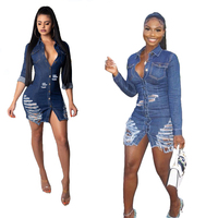 Women Sexy Holes Jeans Dress Buttons Up Turn Down Collar Long Sleeve Denim Mini Night Club Party Dresses Autumn Outfits