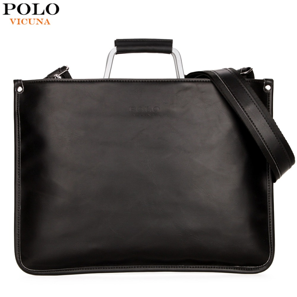 VICUNA POLO Ultra-thin Mens Briefcase with Hard Handle Lightweight Men Leather Bags For Laptop Classic Man sacoche homme marque