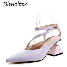 Bimolter Women High Heels Pointed Toe Classic Slingback Pumps Sexy Ladies Dress Band Formal Pink Purple Wedding Party Shoes C060 все цены