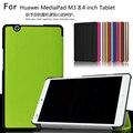 Magnetic magro folding virar pu caso capa para huawei mediapad m3 BTV-W09 BTV-DL09 8.4 polegada Tablet Pele Case + Filme + Caneta