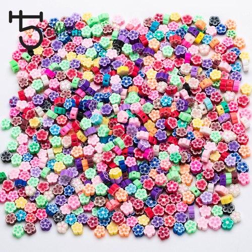 9 мм микс Col цветок из полимерной глины бисер девушка Diy аксессуары для изготовления браслетов Perles Свободные Круглые Fimo бусины оптом C201 - Цвет: mix