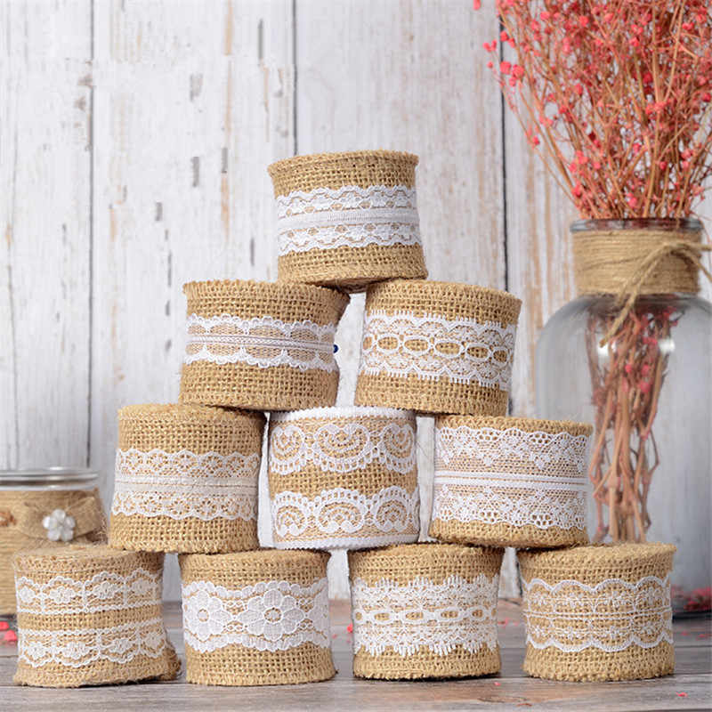 2M 5cm Natural Jute Burlap Ribbon Rustic Vintage Wedding Decor Hessian Lace Jute Roll Merry Christmas Party Supplies DIY
