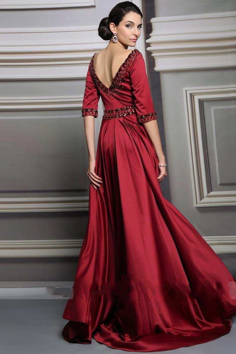 Robe de soirée longue 2017 bordeaux perlée longues robes de soirée Dubai demi manches a-ligne Robe de bal Robe formelle Vestido de noche
