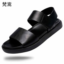 Summer thick-soled sandals mens real leather fashion outdoor casual breathable non-slip beach shoes designers