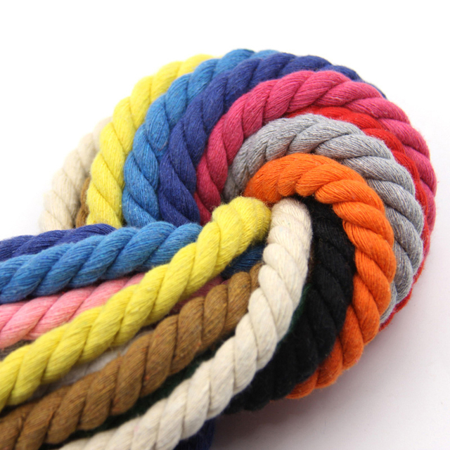 100% Cotton 10Meters 3 Shares Twisted Cotton Cords 10mm DIY Craft Decoration Rope Cotton Cord for Bag Drawstring Belt 12 Colors