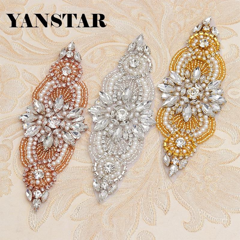 YANSTAR 6 (PCS) Svatební šaty Pásové kamínky Appliques Path Clear Rose Gold Crystal Korálky šití na pro svatební křídlo YS844