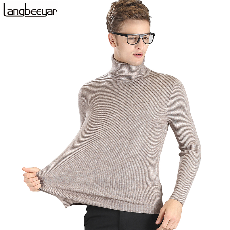 High-grade New 2019 Autumn Winter Youth Fashion Turtleneck Sweater Men Knitted Sweater High Elastic Mens Sweaters And Pullovers