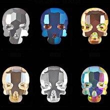 10PCS di bellezza piatto posteriore della testa del cranio 3d decorazioni di arte del chiodo di fascino del rhinestone di scintillio di gioielli unghie accessori 6 colori disponibili