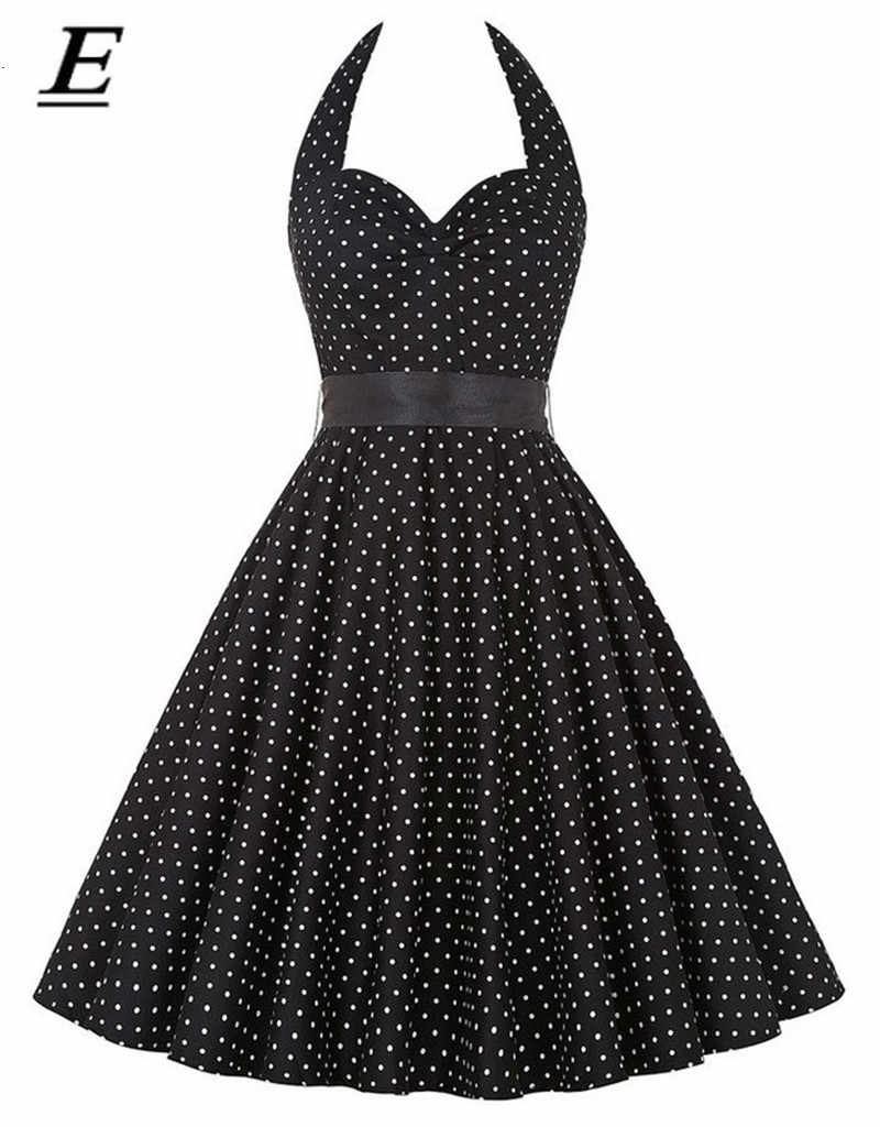 2019 Mulheres Preto Polka Dot Vestido Grande Balanço Vestidos Retro Ocasional Robe Prom Rockabilly Party Dress 60 50 s s vestidos Pinup Do Vintage