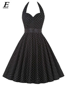 2020 Women Black Polka Dot Dress Big Swing Vestidos Retro Robe Casual Prom Rockabilly Party Dress 50s 60s Pinup Vintage Dresses