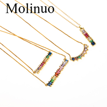 Molinuo CZ Rainbow Necklace Women Long Chain Zirconia Stone Jewelry Arcoiris Collar Gold Pendant Necklace2019