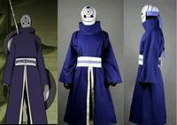 Naruto Akatsuki Ninja Tobi Obito Madara Uchiha Purple Jacket Cosplay Costume WIth Leather Gloves Halloween Clothing For Men