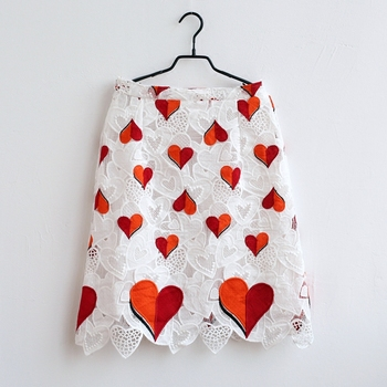 Luxury customized heart embroidery lace dresses mother and daughter princess skirt family clothing kids baby girls summer skirts