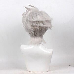 Image 3 - NARUTO hatake kakashi srebrny szary krótki peruka do cosplay włosy syntetyczne kostium na halloween peruki na przyjęcie + czapka z peruką