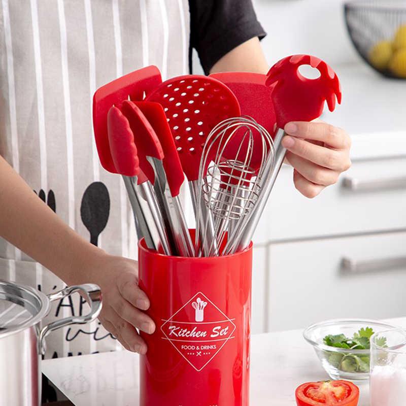 9 pièces en acier inoxydable de qualité alimentaire Silicone cuillère de cuisson soupe louche-oeuf spatule tourneur outils de cuisine ensemble d'ustensiles de cuisine