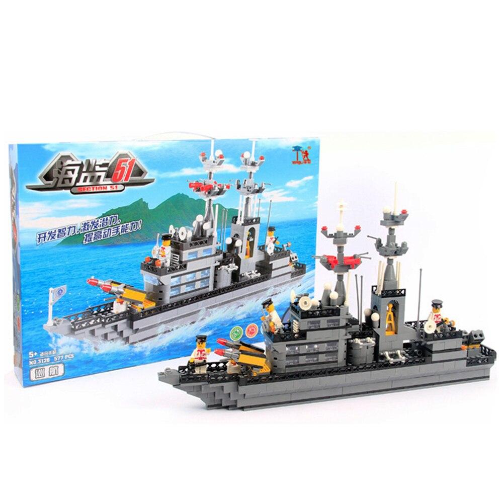 Παζλ 577PCS / σετ Στρατιωτικό κτίριο μπλοκ DIY παιχνιδιών Συνέλευση για παιδιά Συναρμολόγηση Πλαστικό κιτ μοντέλου πλοίου Καλύτερο δώρο γενεθλίων