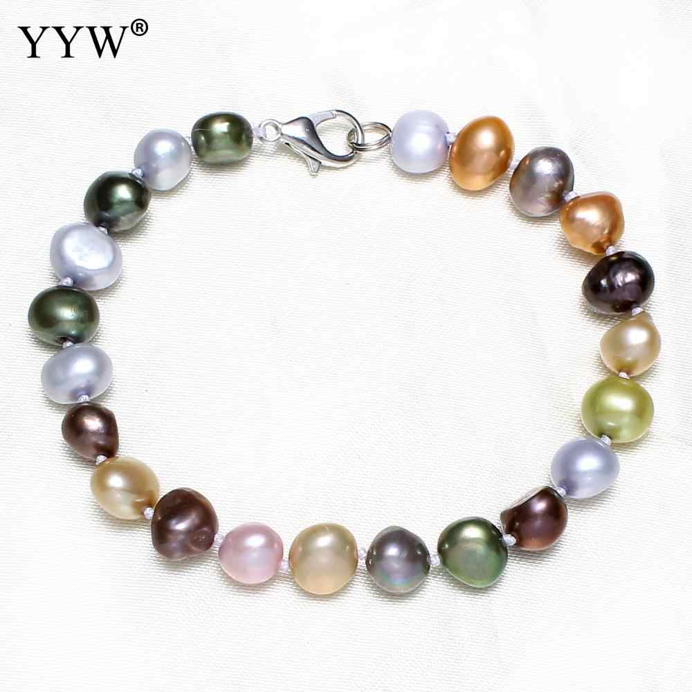 YYW Mom Birthday Wedding Bridal Natural Freshwater Pearl Bracelet multi-color Pearl 9-10mm Real  pearl bracelet for women