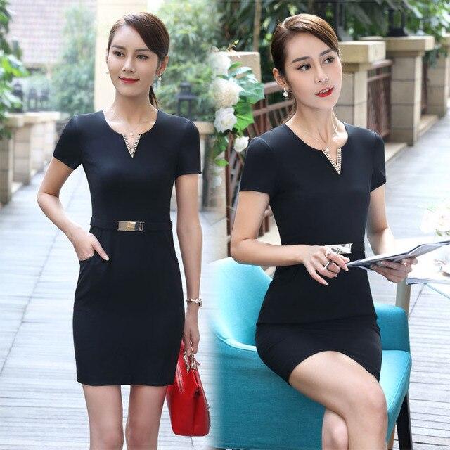 b78404730f3b Moda formale Slim Fit Abito Manica Corta Estate Plus Size Abbigliamento Da  Lavoro Tops Abiti Beauty