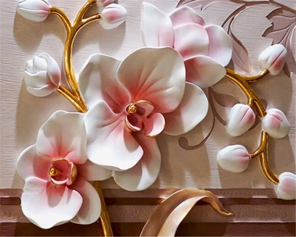 Online Shop Beibehang Photo Wallpaper 3d Phalaenopsis Relief Wall