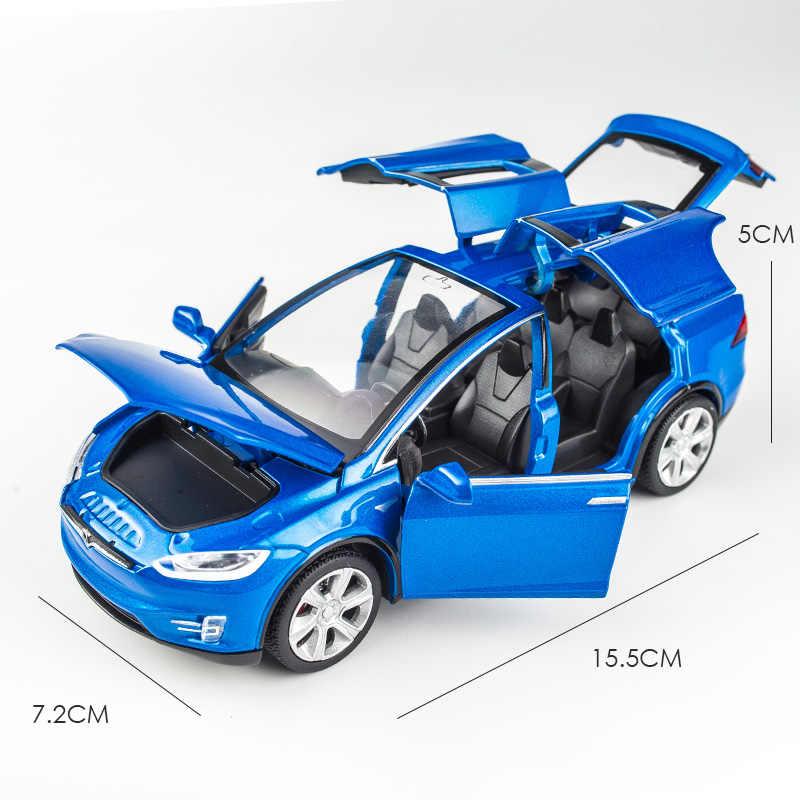 Высокая моделирования 1:32 Тесла модель X 90 сплава модели автомобиля литые игрушечные машинки для мальчиков Игрушки отступить мигающий Звук малыш подарки