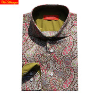 cotton printed red army paisley floral men's long sleeve male fashion slim fit dress shirts big sizes high quality 678XL summer