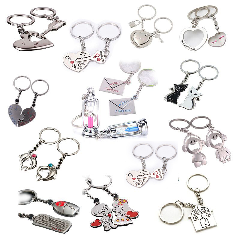 2Pcs/set Love Heart Keyring Couple Keychain Key Ring New Fashion Gift For Kids Friends