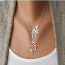 2017 new jewelry simple fashion fringed necklace double leaf pendant necklace double leaf lock chain charm charm female