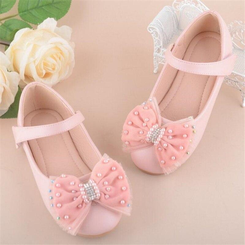 2018 New Princess Childrens Shoes Boys Girls Wedding Shoes Fashion Flower Dress Diamond Party Shoes Girl Size 24-37