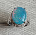 Cool big blue fire opal stone ring for men