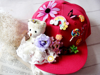 الأزياء الفريدة القوطية تعديل دمية مسطحة قبعة فراشة زهرة القبعات خمر اليدوية القوطي التبعي