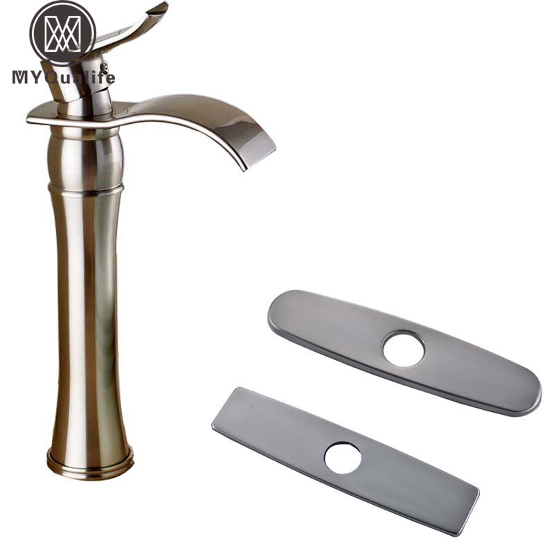 цена на Brushed Nickel Countertop Waterfall Basin Faucet Taps Single Handle Deck Mount Mixer Tap for Bathroom Sink