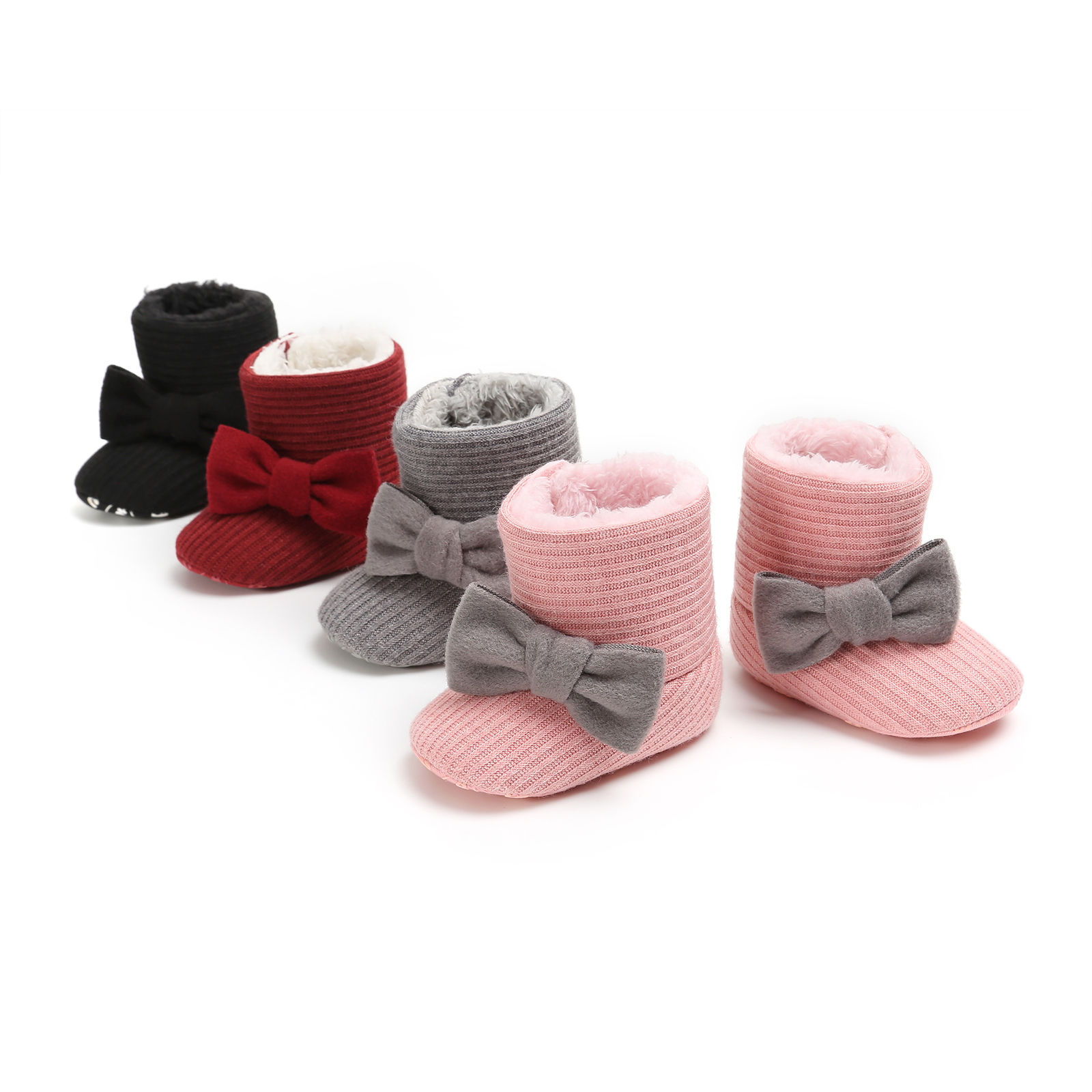 Winter Toddler Baby Boy Girl Warm Snow Boots Infant Soft Sole Slipper Crib Bowknot Snowboot Baby Shoes For 0-18M