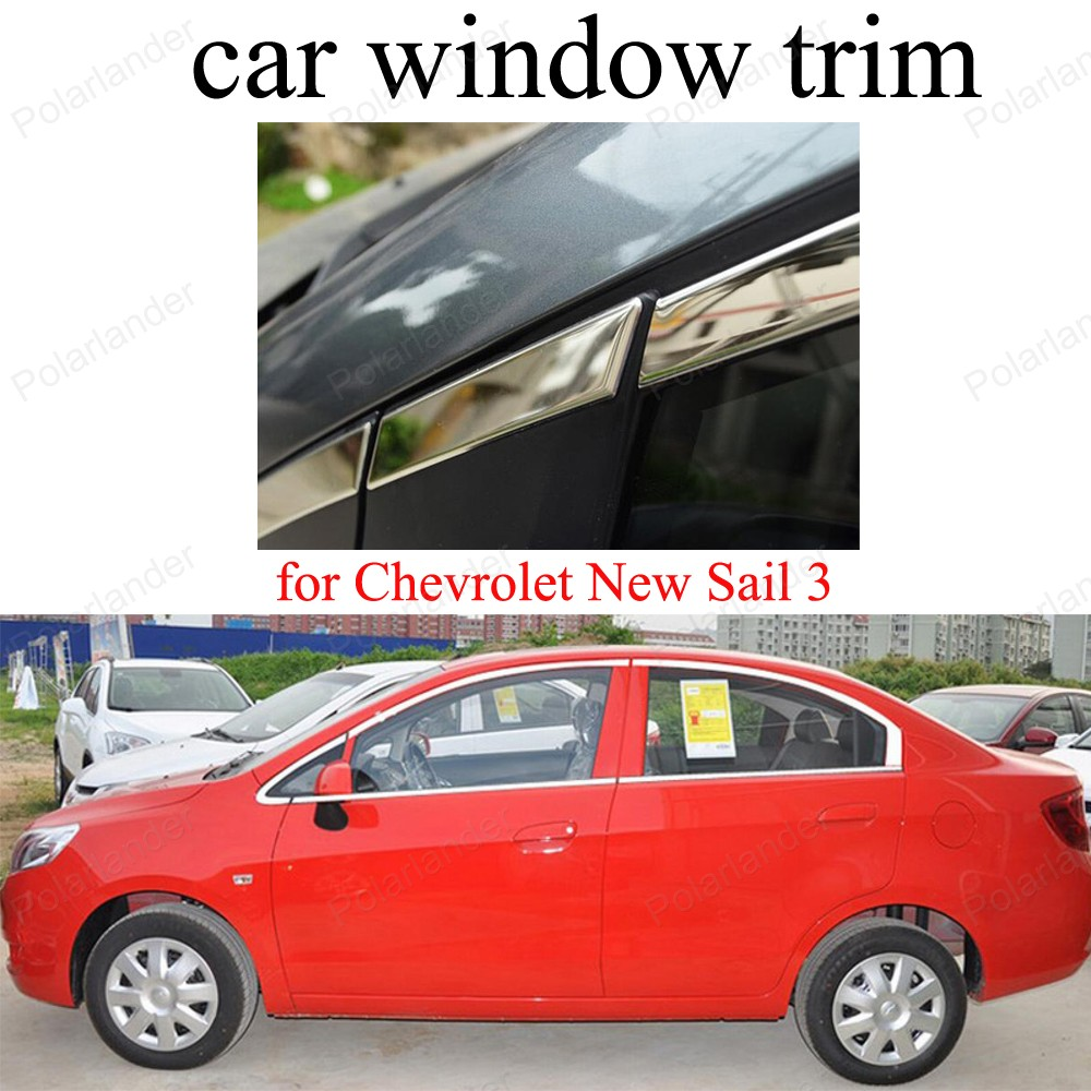 Fit For C-hevrolet New S-ail 3 Window Decoration Strips Stainless Steel Car Styling  Moldings Trim