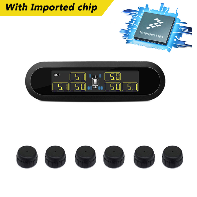 Car TPMS Tire Pressure Monitoring System Super LCD Universal For 6 Wheels Bus Van With 6 Sensors With Imported ChipsCar TPMS Tire Pressure Monitoring System Super LCD Universal For 6 Wheels Bus Van With 6 Sensors With Imported Chips