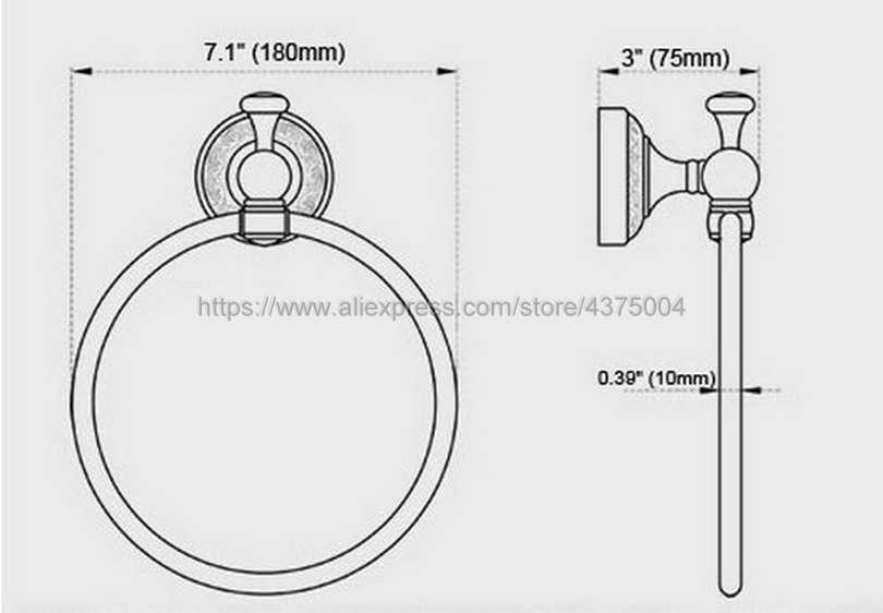 Zwarte Olie Gewreven Messing Ring Wall Mount Handdoekring Badkamer Accessoires Badhanddoek Houder rack Bad Hardware Nba465