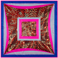 New Arrival Occident Geometry Stripe Pattern Leopard Print Silk Brand Scarf Twill Square Scarf Shawl For