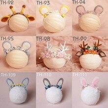 Photo Props Baby Girl Headwear Newborn Baby Girls Photography Props Ears Cute Headband Unicorn Headwear Infant Hat Accessories Y