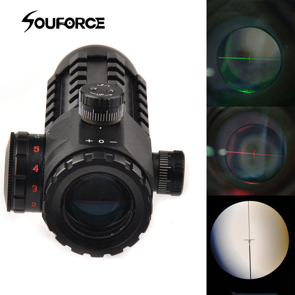 Tactical 4x28 Optical Sight Hunting Scope Red Green Reticle Riflescope Sight fit 20 mm 11mm Rail