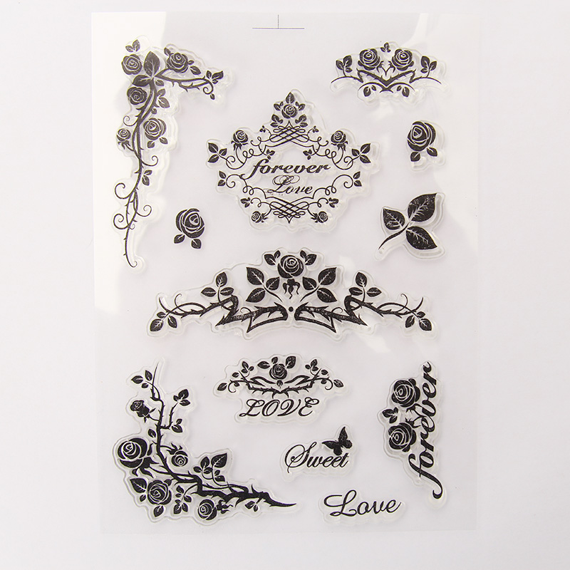 vintage vines roses transparent silicone clear stamp for scrapbooking DIYcraft decoration soft stamp kids stationery