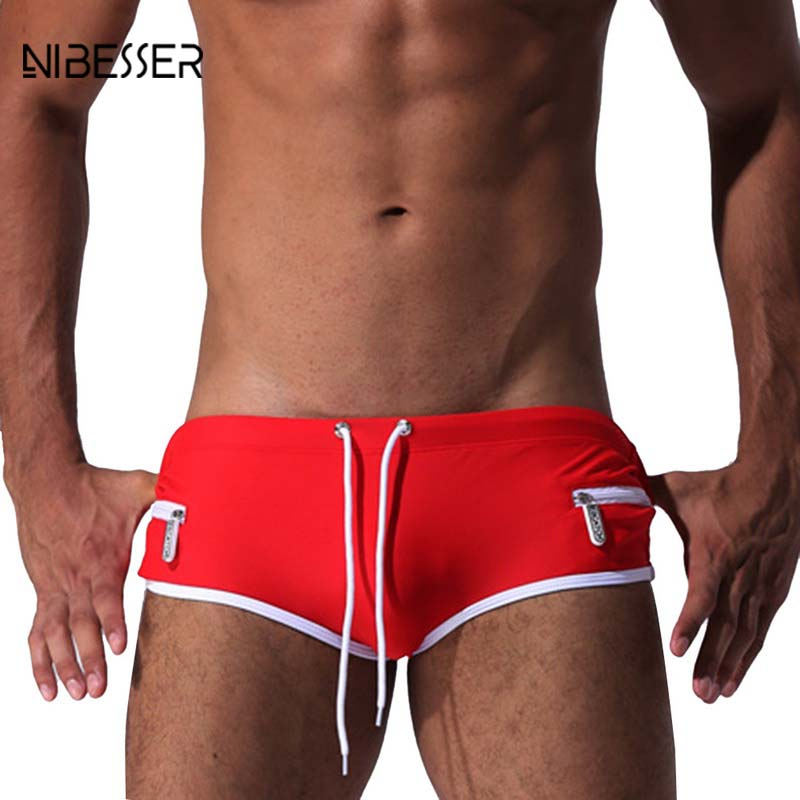 NIBESSER Brand Sexy Briefs Men Comfortable Quick Dry Underwear Male Zipper Drawstring Beach Shorts High Elastic Waist Underpants
