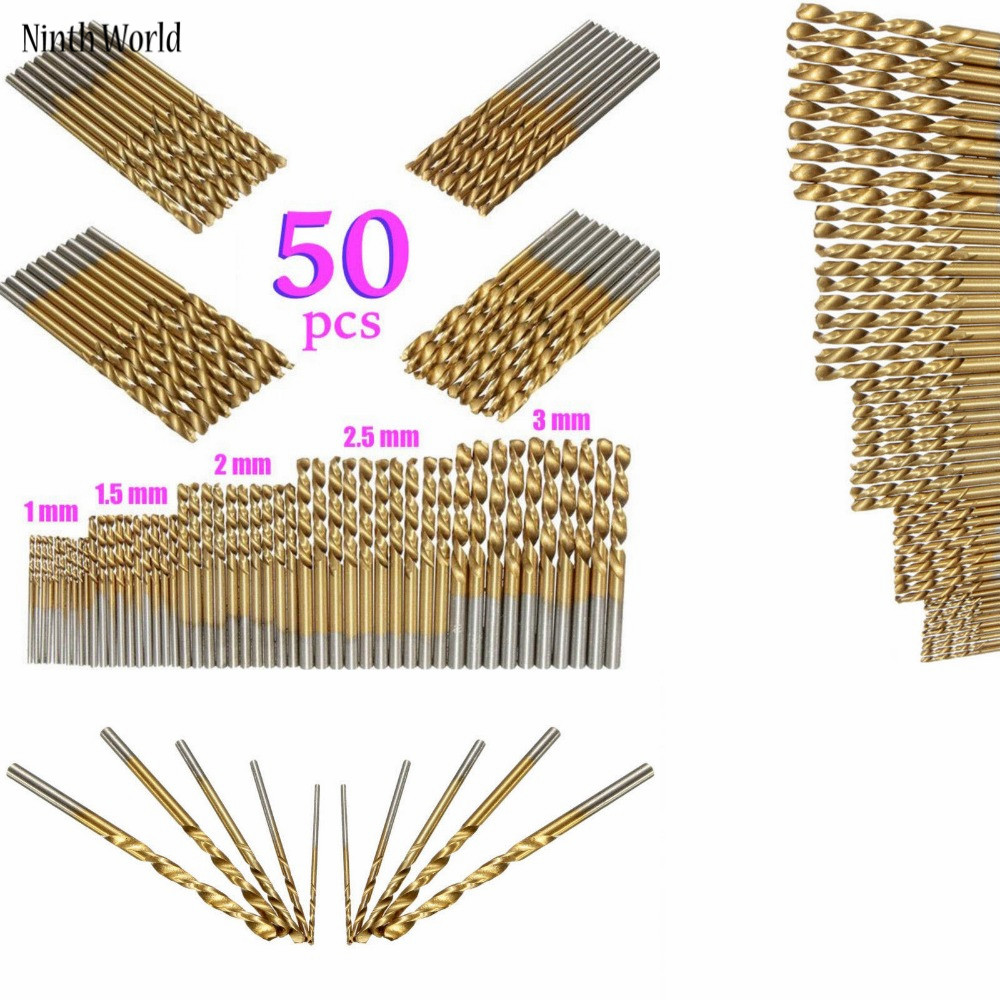 50Pcs/Set Twist Drill Bit Set Saw Set HSS High Steel Titanium Coated Drill Woodworking Wood Tool 1/1.5/2/2.5/3mm For Metal 13 mm hss titanium coated drill bit wood metal plastic cutting saw set drill bit drill bit set drill bit