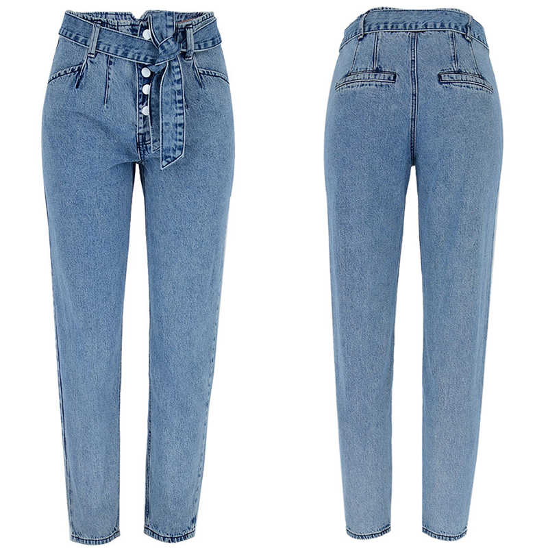 デニム女性の鉛筆のズボンハイウエスト包帯レースアップベルト紙袋ズボンシングルブレストボタンストリートボーイフレンド xs